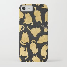 Gold on Black Kitty Pattern iPhone Case