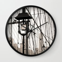 New York City's Brooklyn Bridge - Black and White Photography Wall Clock