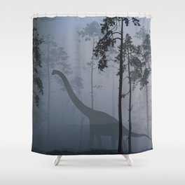 Dinosaur by Moonlight Shower Curtain