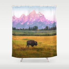 Grand Tetons Bison Shower Curtain