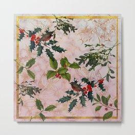 Holly and Mistletoe Metal Print
