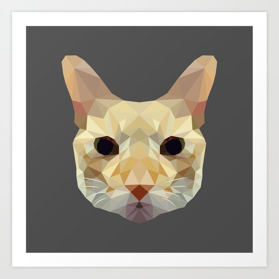 geometric cat head Art Print