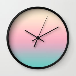 Ombre gradient illustration pink yellow blue colors Wall Clock
