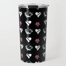 hearts and flowers 2 -bloom,blossom,petal,floral,leaves,flor,garden,nature,plant. Travel Mug