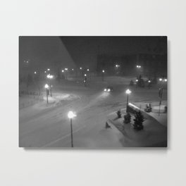 A car in the snowy night. Metal Print
