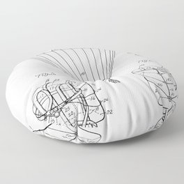 Parachute Patent - Sky Diving Art - Black And White Floor Pillow