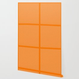 Tiny Paw Prints Pattern - Bright Orange & White Wallpaper