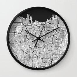 Jakarta Map Gray Wall Clock