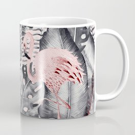 Flamingo Love - Watercolor Birds in Pink and Gray color Coffee Mug