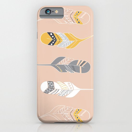 Multi Colored Feathers in Peach iPhone & iPod Case