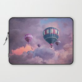 Blue, Pink, and Purple Hot Air Balloons on Pastel Clouds Laptop Sleeve