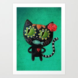 Black cat of the dead Art Print