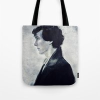 sherlock Tote Bags featuring Sherlock by LindaMarieAnson