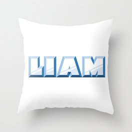 """LIAM"" first name blue pattern Throw Pillow"