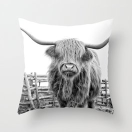 Highland Cow in a Fence Black and White Throw Pillow