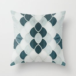 Moroccan Scalloped Flower Teal Throw Pillow