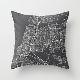 Tel Aviv Map, Israel - Gray Throw Pillow