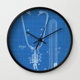 Stethoscope Patent - Doctor Art - Blueprint Wall Clock