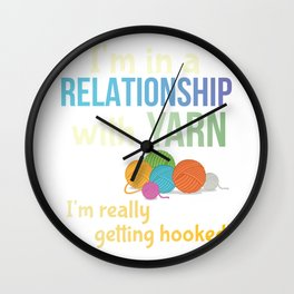 Funny Yarn Knitters Crochet Crafters Committed Relationship Pun Wall Clock