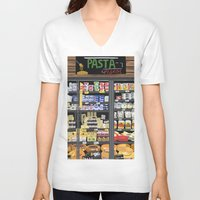 pasta V-neck T-shirts featuring Pasta Land by Teddy Kang's Art