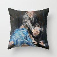inner demons Throw Pillows featuring Demons by Tatiana Ivchenkova