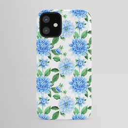 Hand painted sky blue green watercolor modern dahlia floral iPhone Case