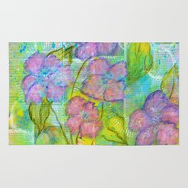 Spring Fantasy, Abstract Flowers Art Rug