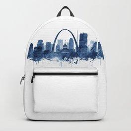 Saint Louis Skyline Watercolor Blue, Art Print By Synplus Backpack