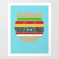 hamburger Art Prints featuring HAMburger by Hippos and Nuts - Caz King