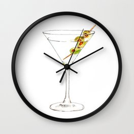 Cocktails. Martini. Watercolor Painting. Wall Clock