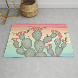 ruby throated hummingbirds & prickly pear cactus Rug