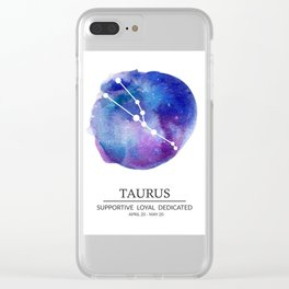 Taurus Watercolor Zodiac Constellation Clear iPhone Case