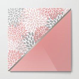 Floral, Color Block Art, Coral and Gray, Coloured Prints Metal Print