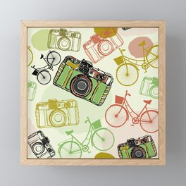 Vintage film camera and bicycles, seamless pattern pastel colors Framed Mini Art Print