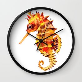 Seahorse decor orange red beach house design Wall Clock