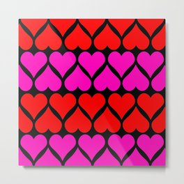 Love Hearts Pattern Metal Print