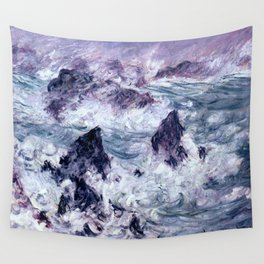 Monet : Storm At Belle Ile Wall Tapestry