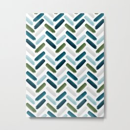 Painted Herringbone - oceanic Metal Print
