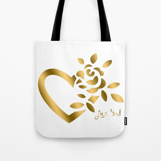 Gold Valentine Heart and Rose Tote Bag