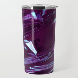 Abstract crumpled foil background. Grunge photo background. Neon colors. Blue and purple colors Travel Mug
