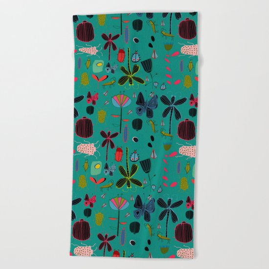 bugs and insects green Beach Towel