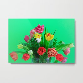 Tulips for Easter Holiday with Green Background Metal Print