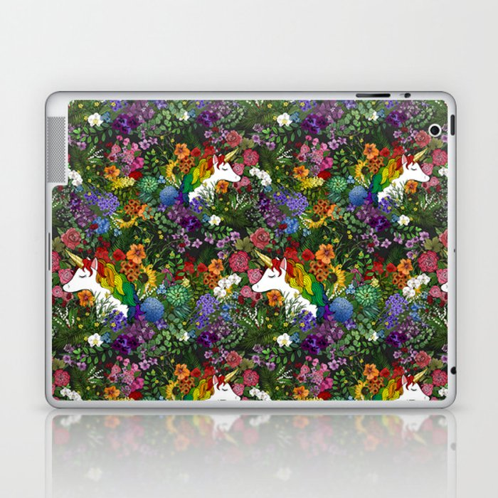 Unicorn in a Rainbow Garden Laptop & iPad Skin