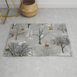 Owls and Foxes in Snowy Trees Rug