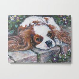 Beautiful Blenheim Cavalier King Charles Spaniel Dog Art Painting by LA.Shepard Metal Print