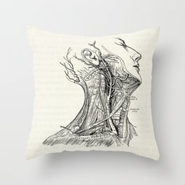 Arteries of the Neck Vintage Medical Illustration Throw Pillow