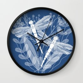 Dragonflies in White Field Wall Clock