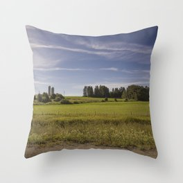 Countryside, on our way to beautiful Gaspésie Throw Pillow