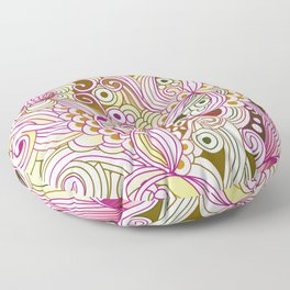 Flower fire | yellow, purple, green and ocre Floor Pillow