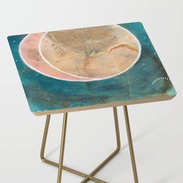 Pink Eco Print Moon Side Table